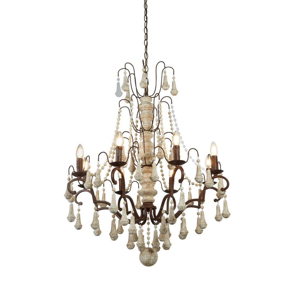 Bessie 8 Light Pendant, Rustic Brown, Weathered Wood (Double Insulated) Bx6938-8Br-17